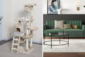 On the left, cats on a cat tree. On the right, a green sofa