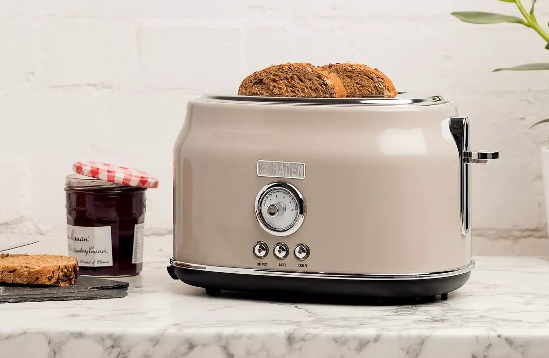 The beige toaster