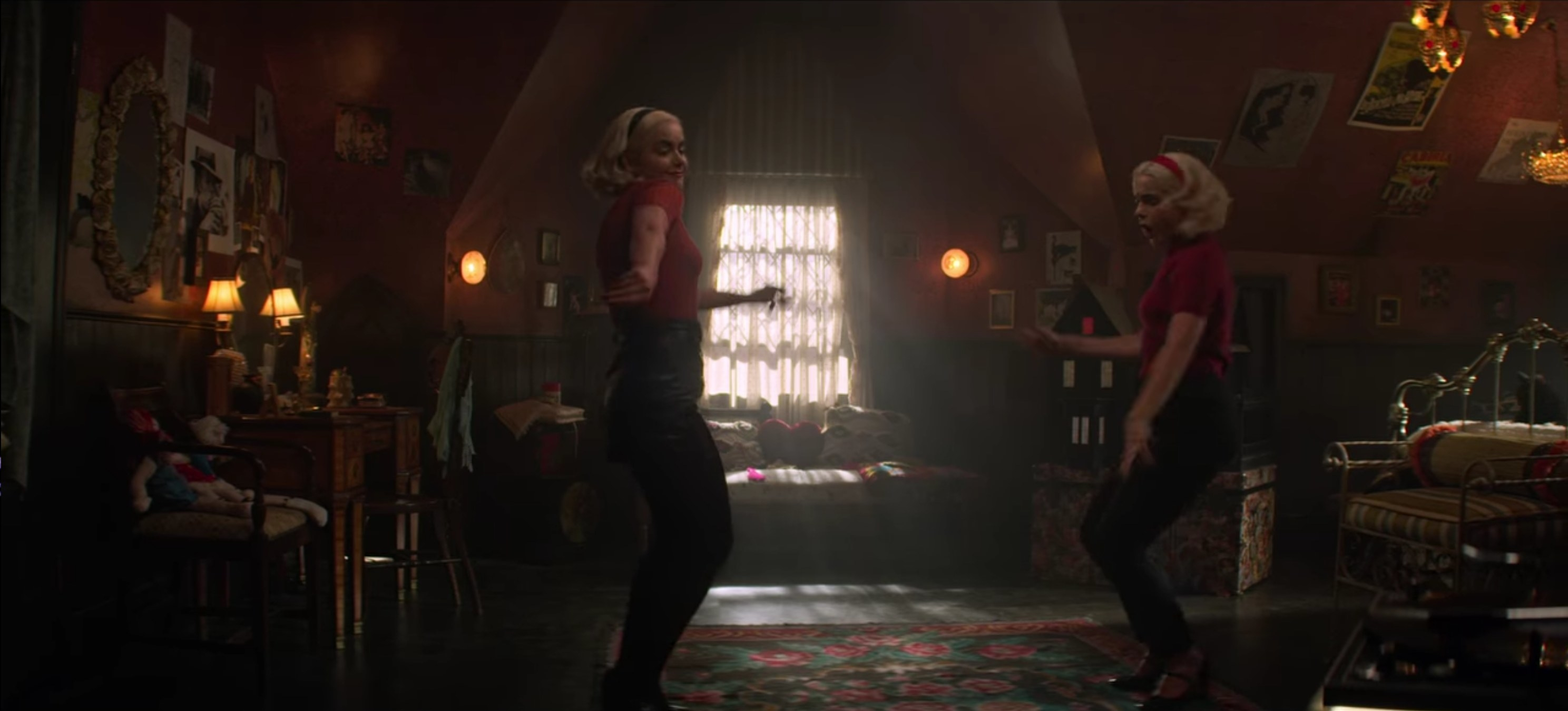 The two Sabrinas having a dance party