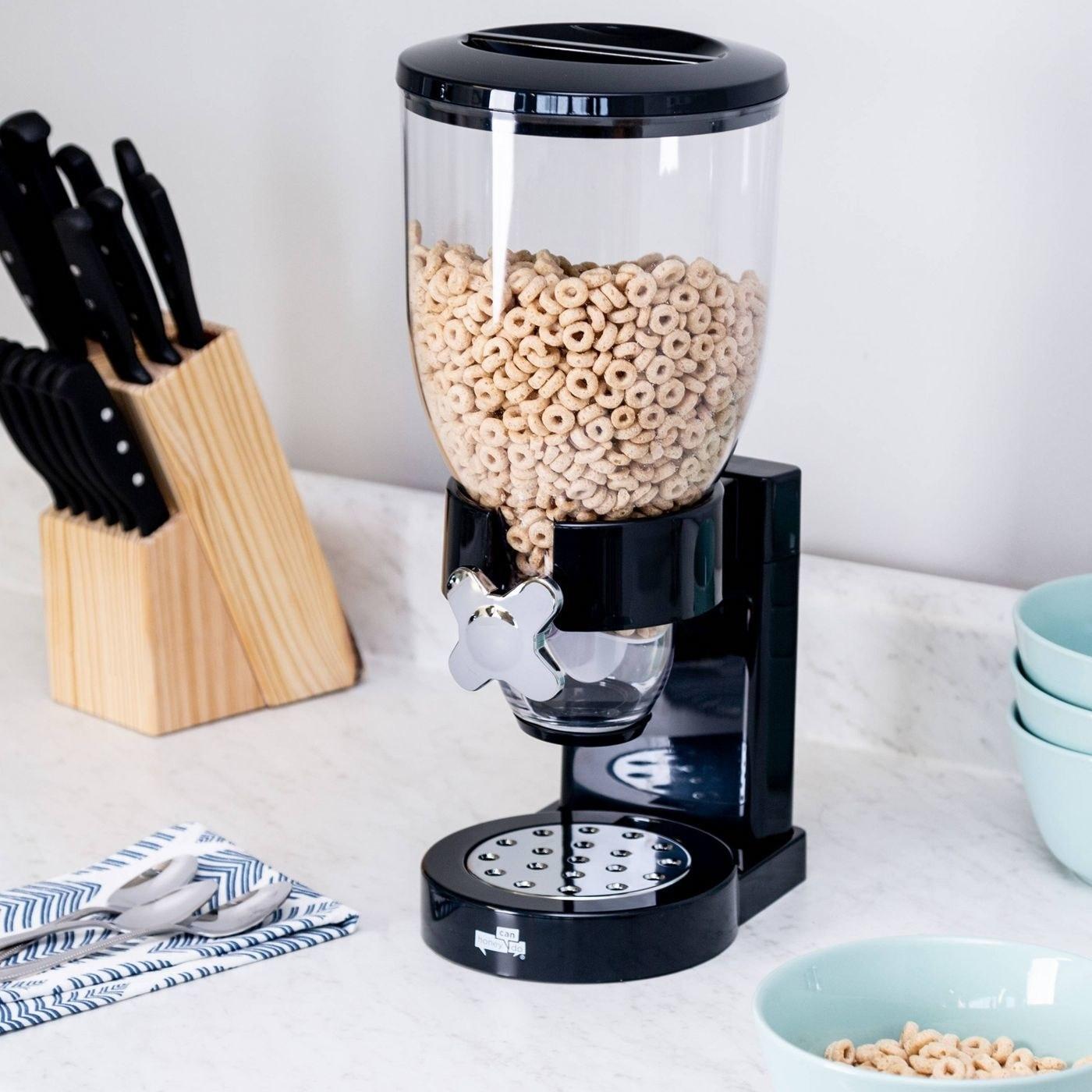 The black dry cereal dispenser