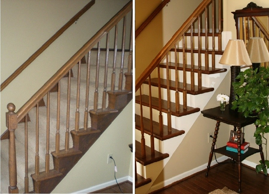 before: carpeted staircase after: glossy wood staircase