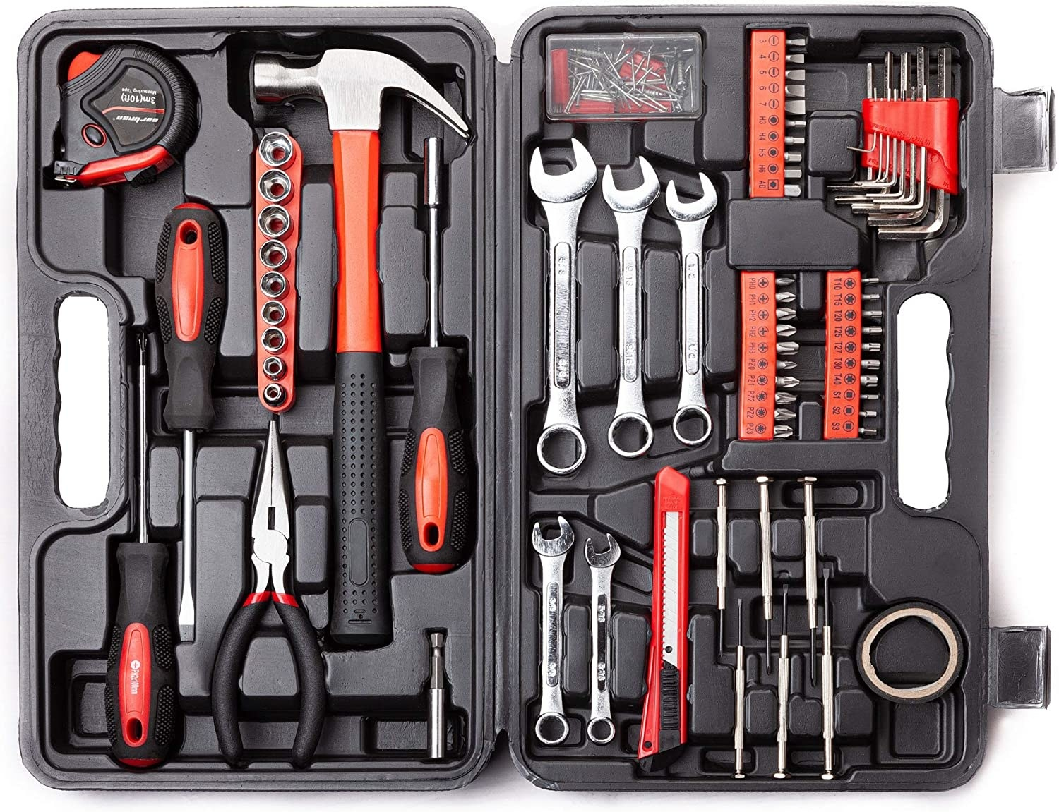 a black tool kit with screwdrivers, pliers, hammer, wrenches, drill bits, and more