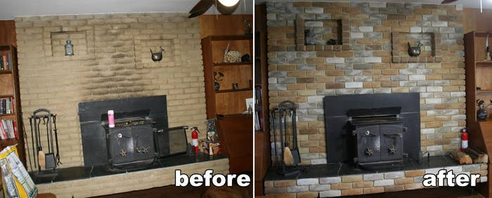 before: tan brick fireplace stained with soot, after: bricks painted in grey, white, and brown