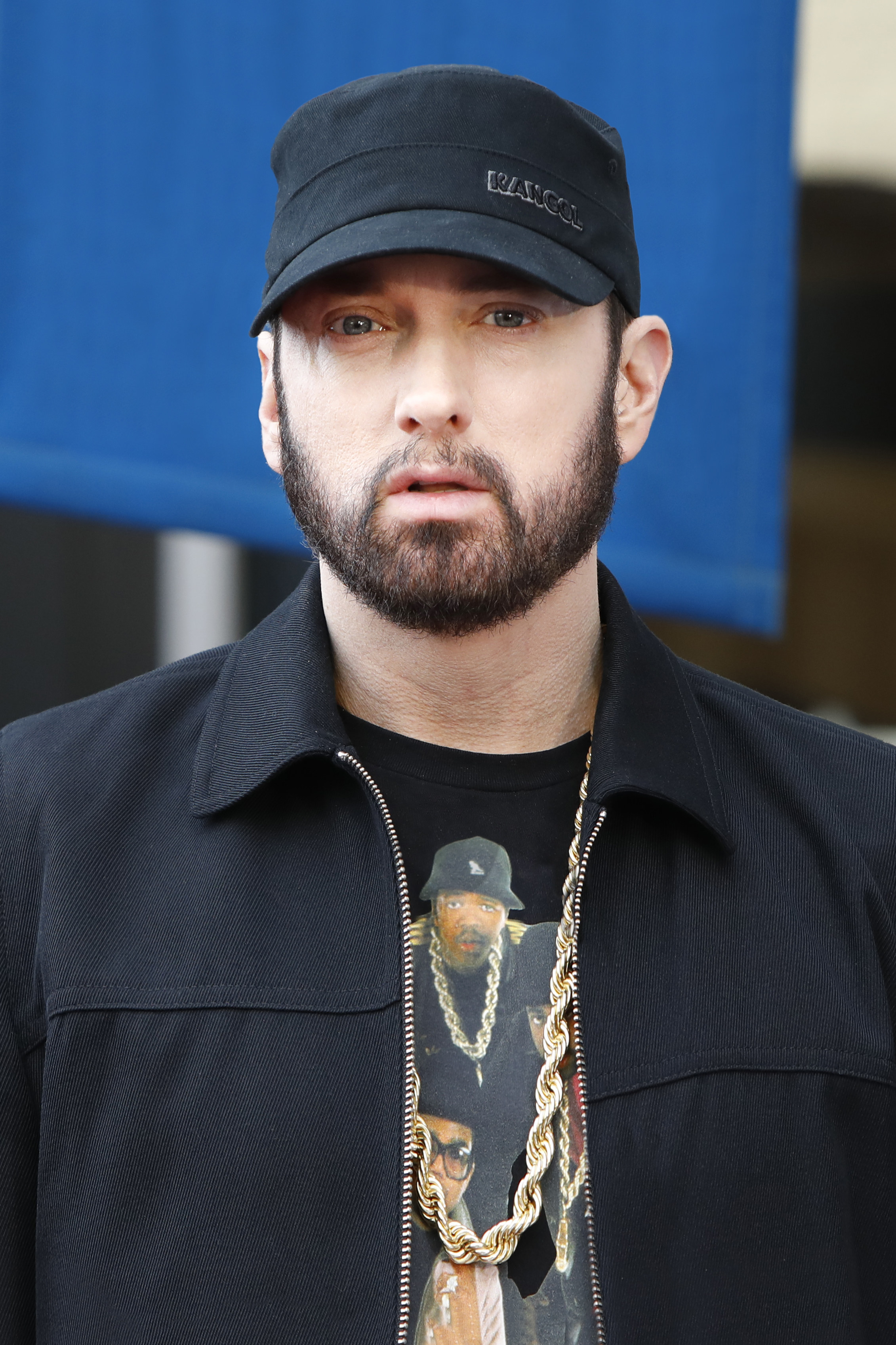 "Eminem a.k.a. Marshall Bruce Mathers III attends a ceremony honoring Curtis ""50 Cent"" Jackson with a star on the Hollywood Walk of Fame on January 30, 2020 in Hollywood, California"