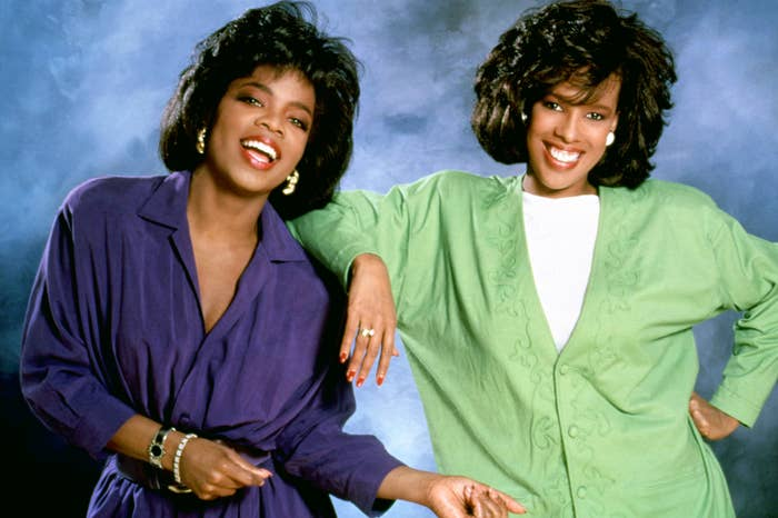 """Oprah and Gayle posing together for """"The Oprah Winfrey Show"""" in the 1980s"""