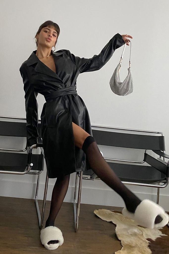 Model wearing trench coat