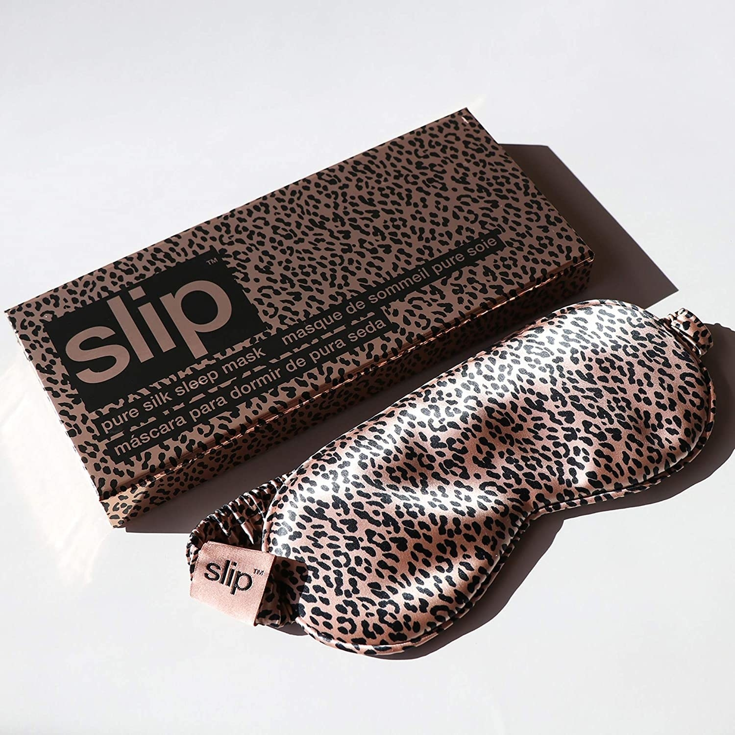 Pink leopard-print sleep mask