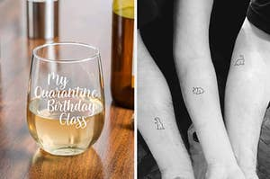 """L: Stemless wineglass that says """"my quarantine birthday glass"""" R: three forearms with matching dinosaurs in the same minimalist art style"""