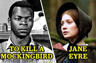 Tom in court from To Kill a Mockingbird next to Jane Eyre looking stoic