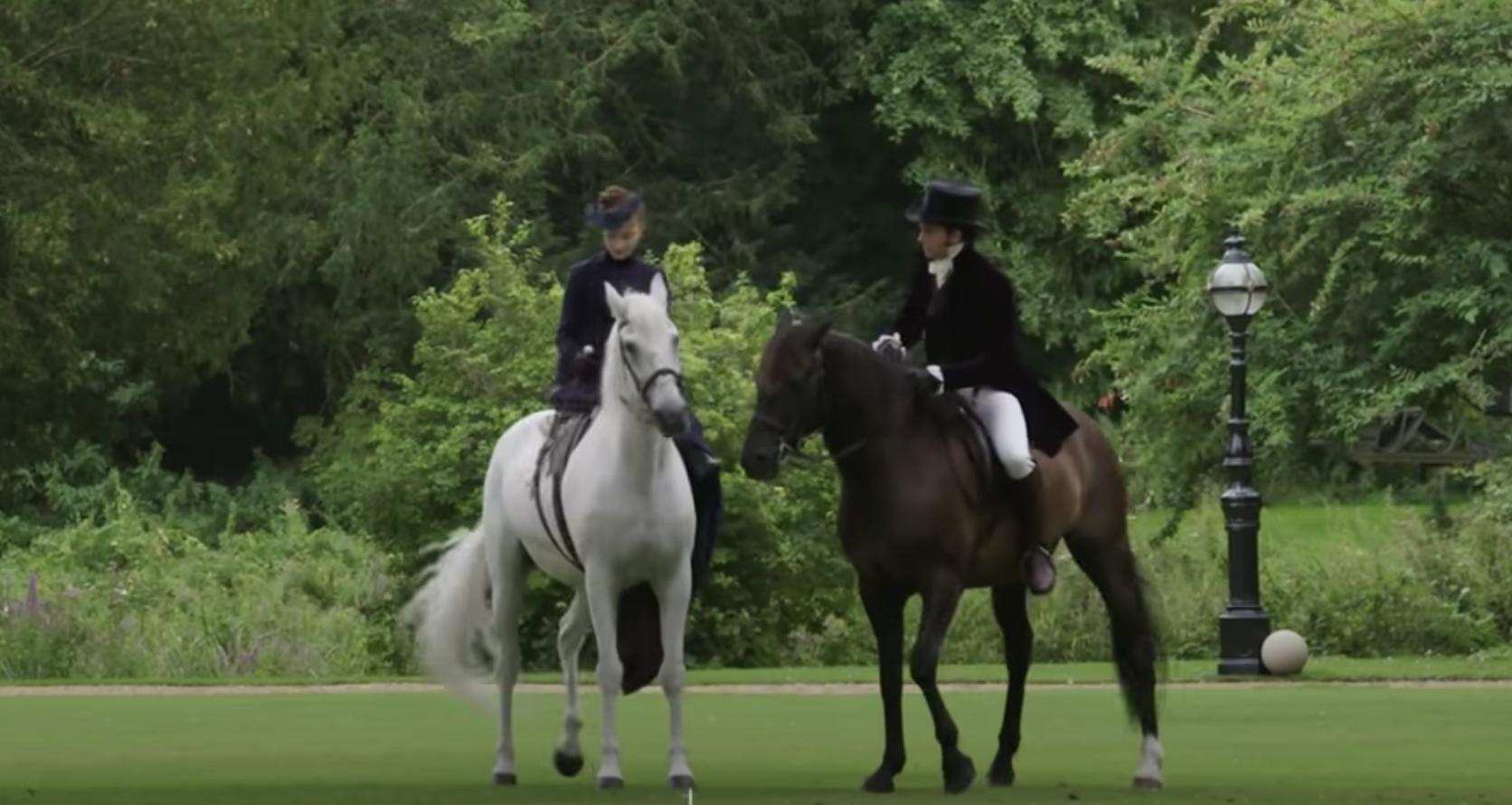 Anthony and Daphne riding horses