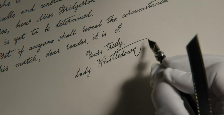 Lady Whistledown writing