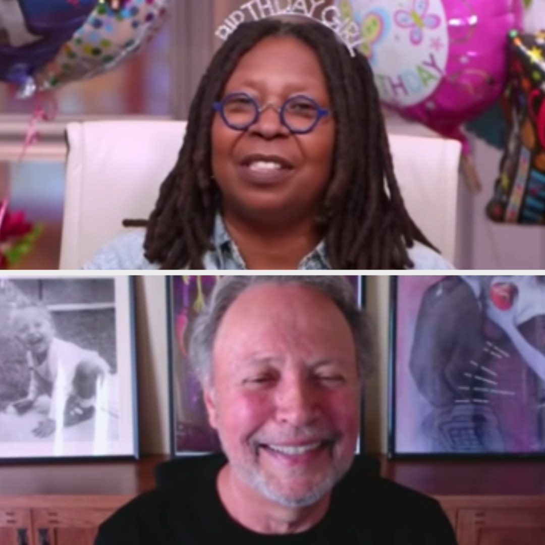 """Whoopi Goldberg interviewing Billy Crystal virtually on """"The View"""" in 2020"""