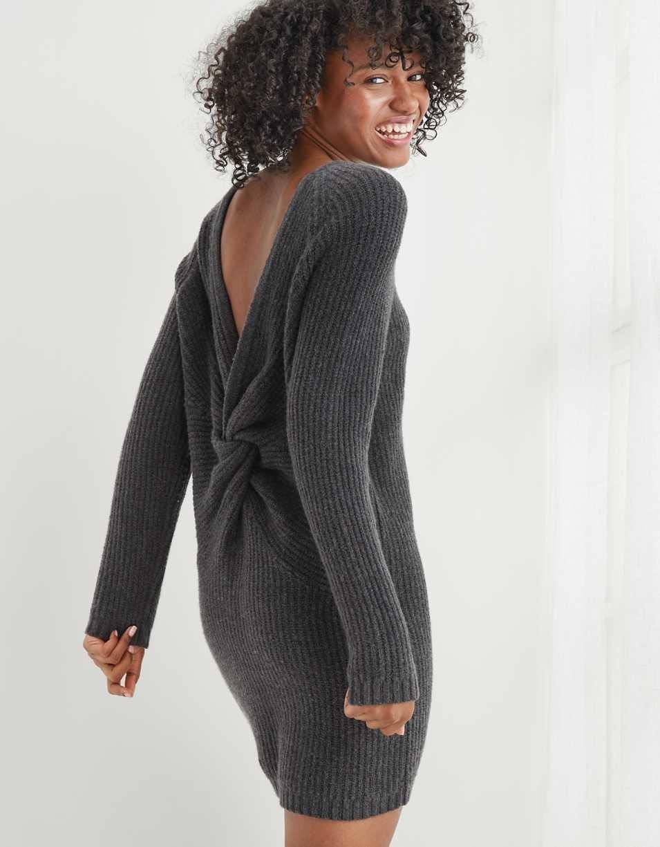 Model showing back of dress