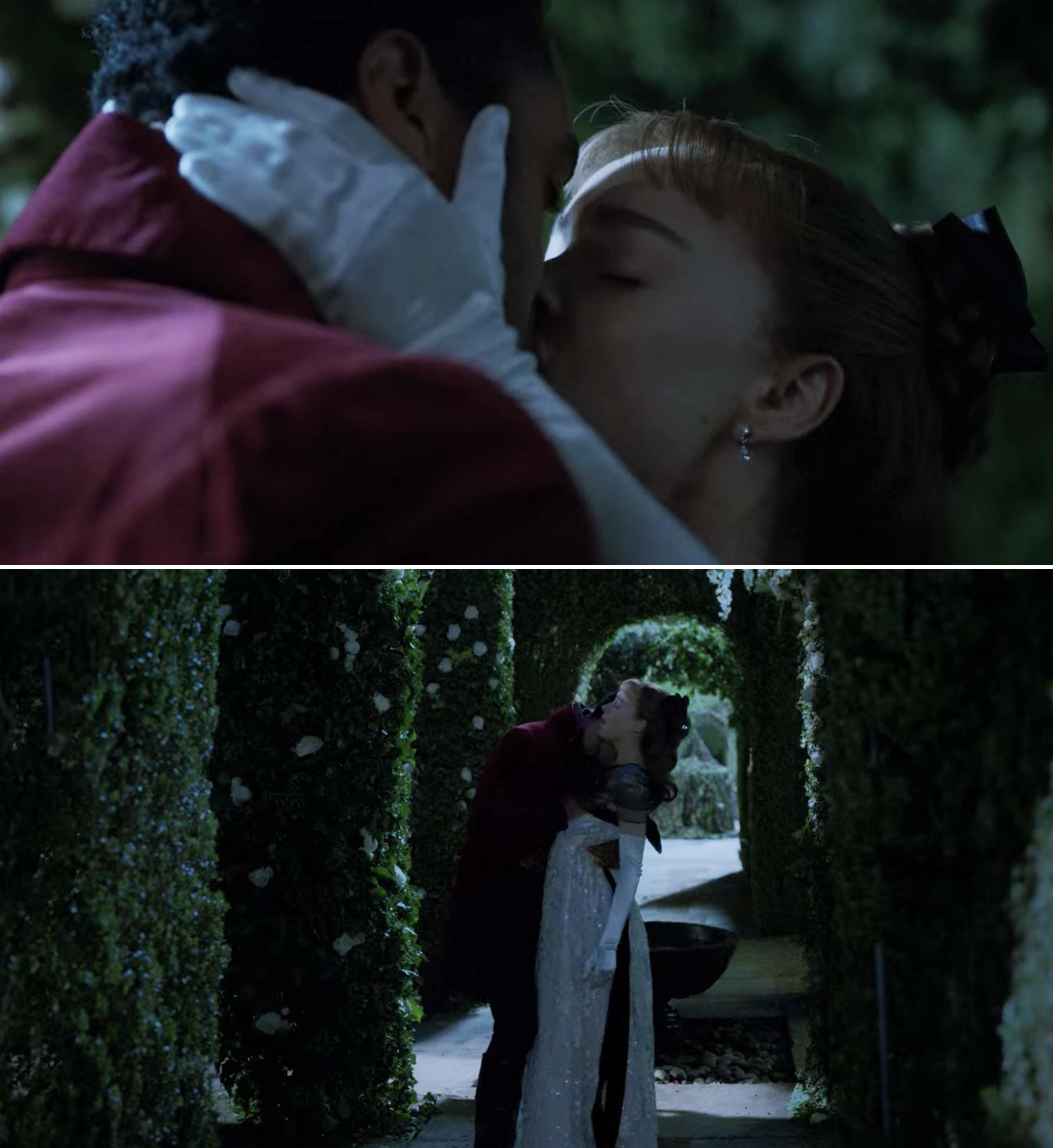 Simon and Daphne kissing in the garden maze