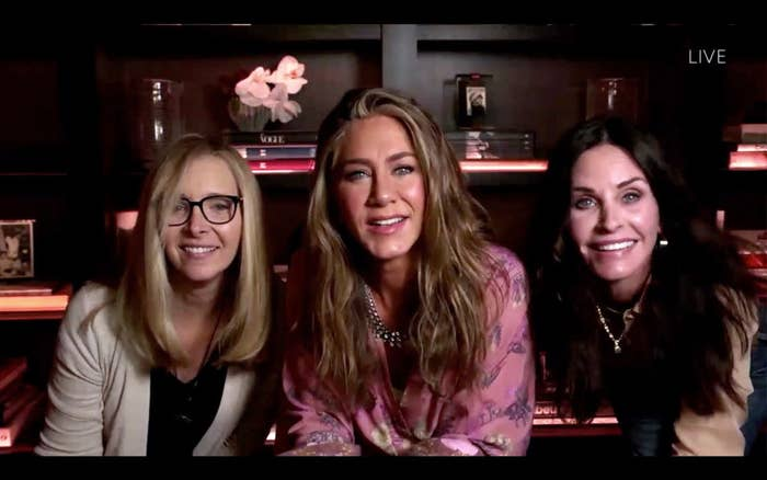 Lisa Kudrow, Jennifer Aniston, and Courteney Cox streaming from the Emmy Awards in 2020