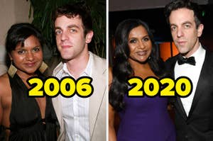 Mindy Kaling and B. J. Novak in 2006 vs. now