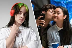 Billie Eilish next to a couple taking a photo and kissing