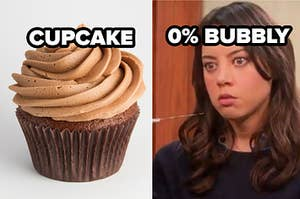 chocolate cupcake and 0% bubbly label over april ludgate