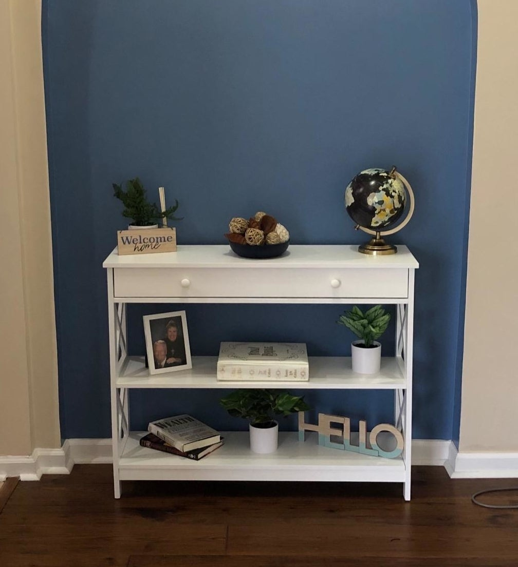 reviewer image of the white Convenience Concepts Oxford 1 Drawer Console Table in an alcove