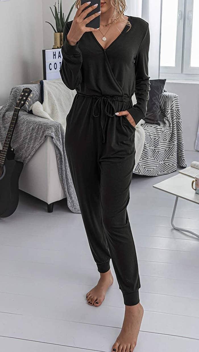 Model wearing jumpsuit