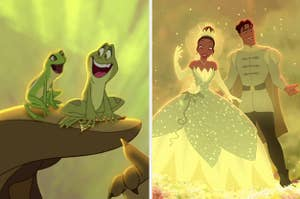 left image: tiana and naveen as frogs, right image: tiana and naveen as humans