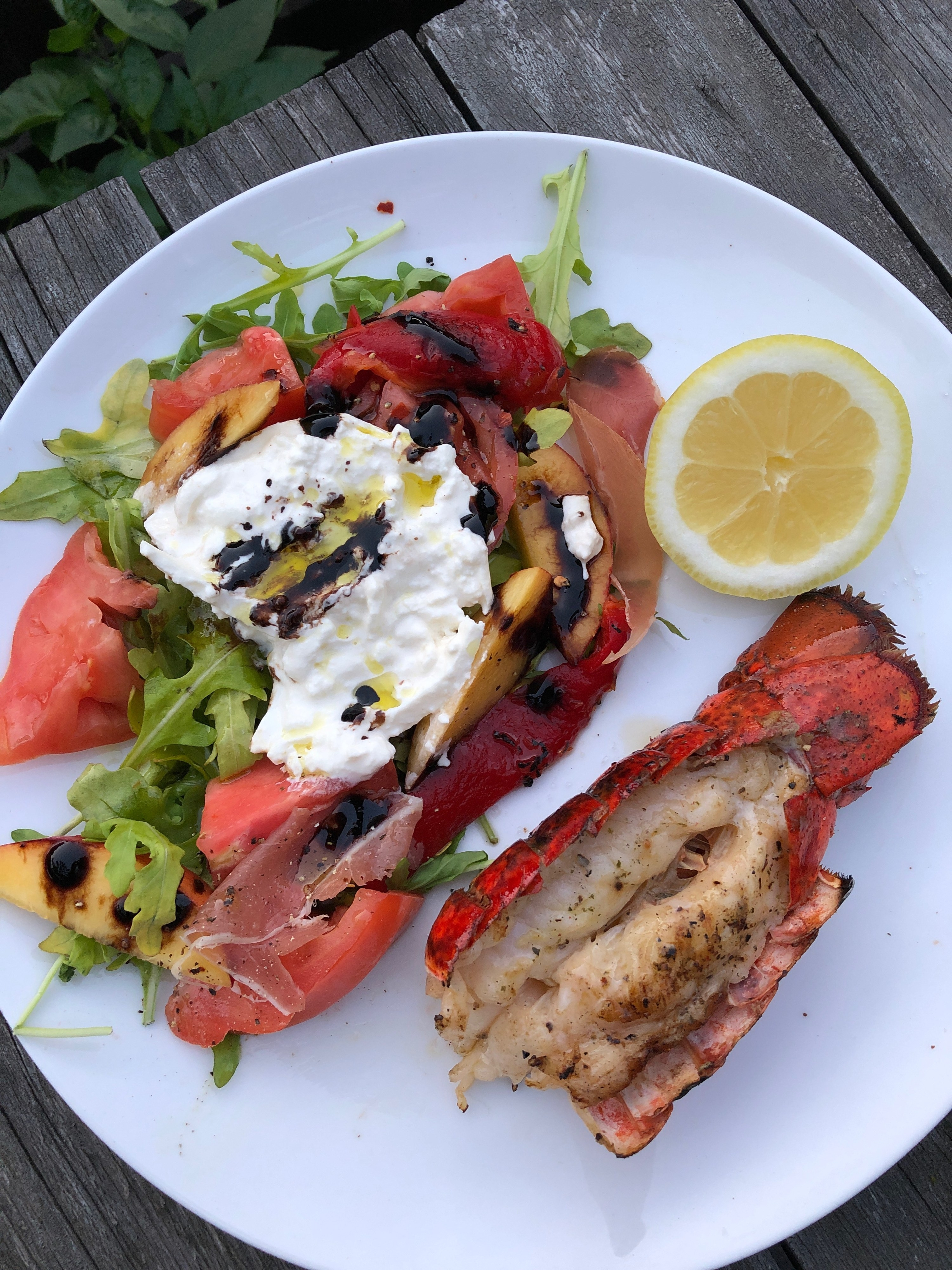 A grilled lobster tail on a plate with a tomato and burrata salad.