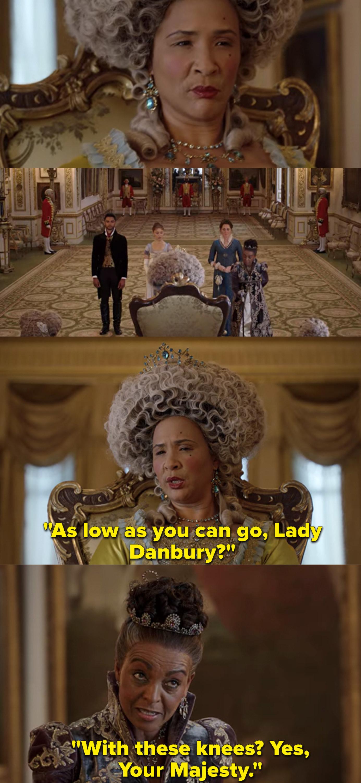 "Adjoa Andoh as Lady Danbury and Golda Rosheuvel as Queen Charlotte in the show ""Bridgerton."""