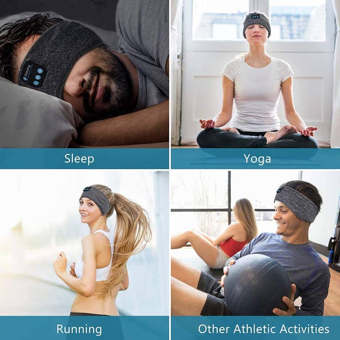 people wearing the sleep headphones to sleep, do yoga, run, and in an exercise class