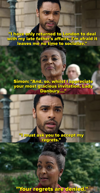 "Adjoa Andoh as Lady Danbury and Regé-Jean Page as Simon Basset in the show ""Bridgerton."""
