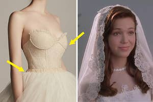 A strapless, champagne, dress with a sweetheart neckline and a full skirt on the left, and mandy moore in a wedding dress from a walk to remember on the right