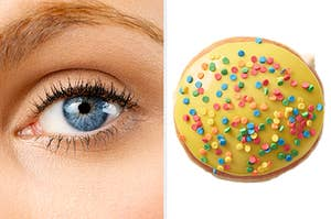 On the left, a closeup of someone's eye, and on the right, a cake batter donut from Krispy Kreme