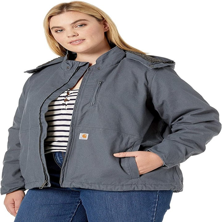 Front view of a different model wearing the coat in magnesium