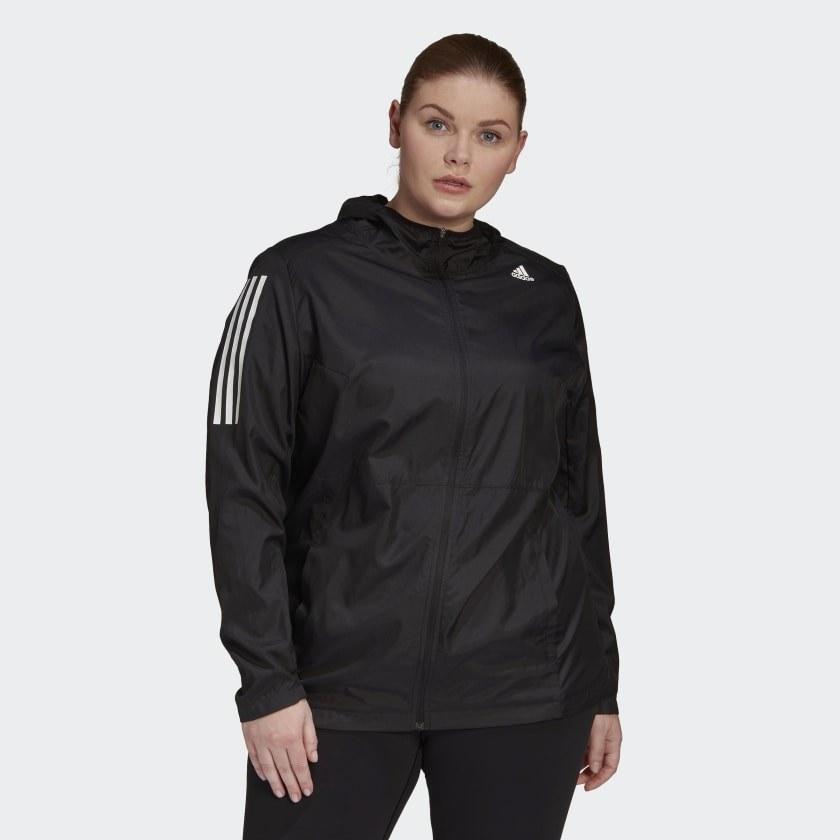 Model wearing runners jacket