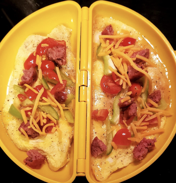 reviewer photo of an omelette being made