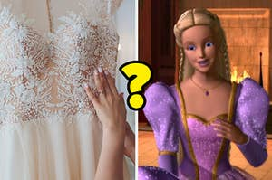 "A mystery wedding dress next to a scene from ""Barbie as Rapunzel"""