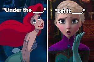 under the blank, let it blank, over screencaps of ariel and elsa