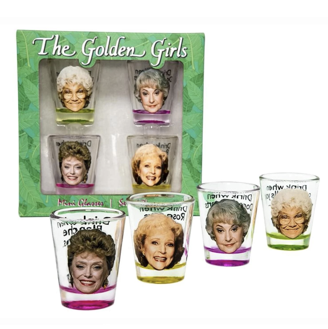 Clear shot glasses with images of the faces of each of the four Golden Girls on them