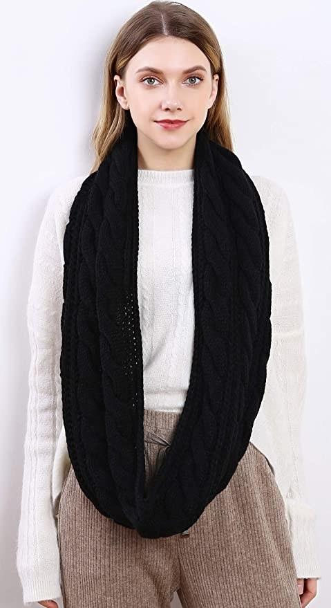 Model wearing infinity scarf