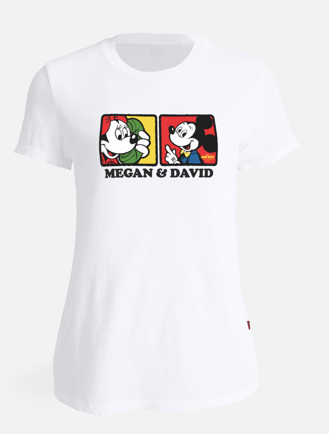 "A white t-shirt with Minnie and Mickey on it that says ""Megan & David"""