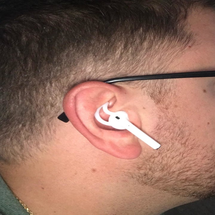 Amazon reviewer wearing AirPod with silicone grip