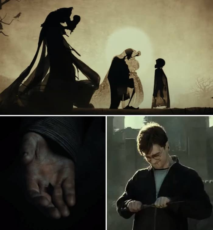 The three brothers handing down the Cloak of Invisibility; Harry dropping the Resurrection Stone; Harry breaking the Elder Wand