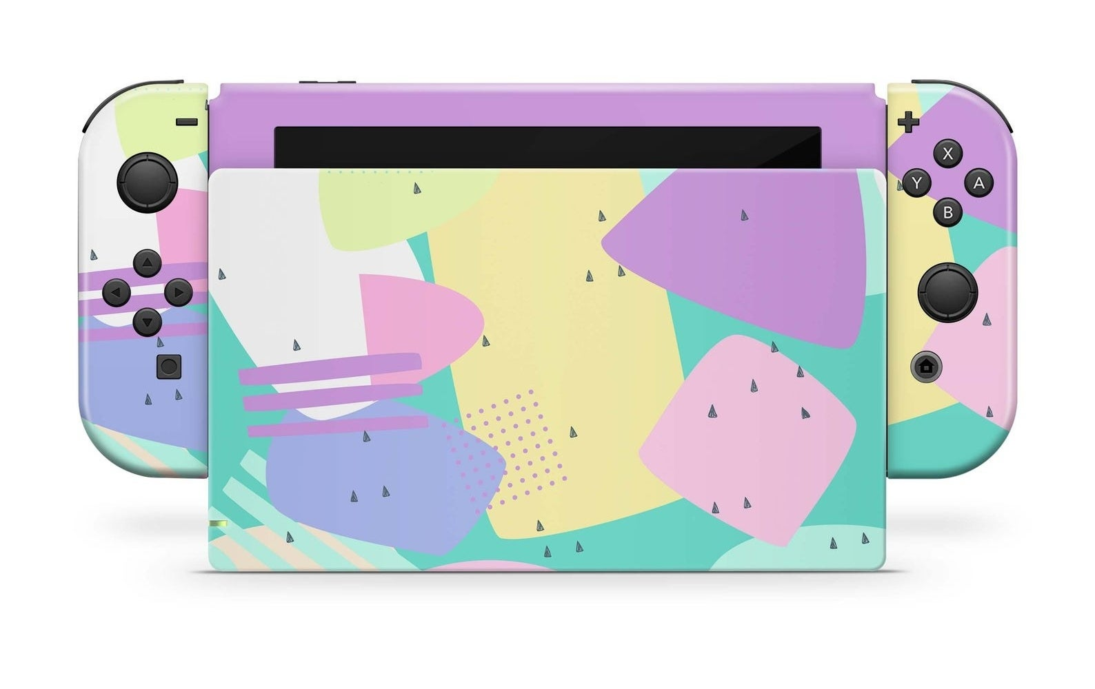 A Nintendo Switch with a skin that is pastel '90s inspired shapes