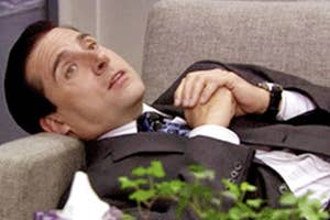 Michael Scott laying down in therapy.