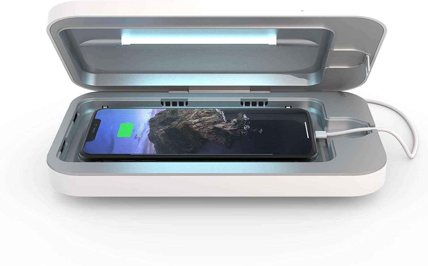 an iphone in the sanitizing case
