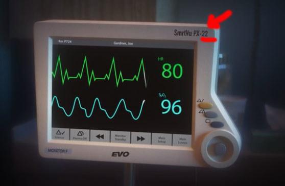 "hospital machine labeled ""SmrtVu-PX-22"""
