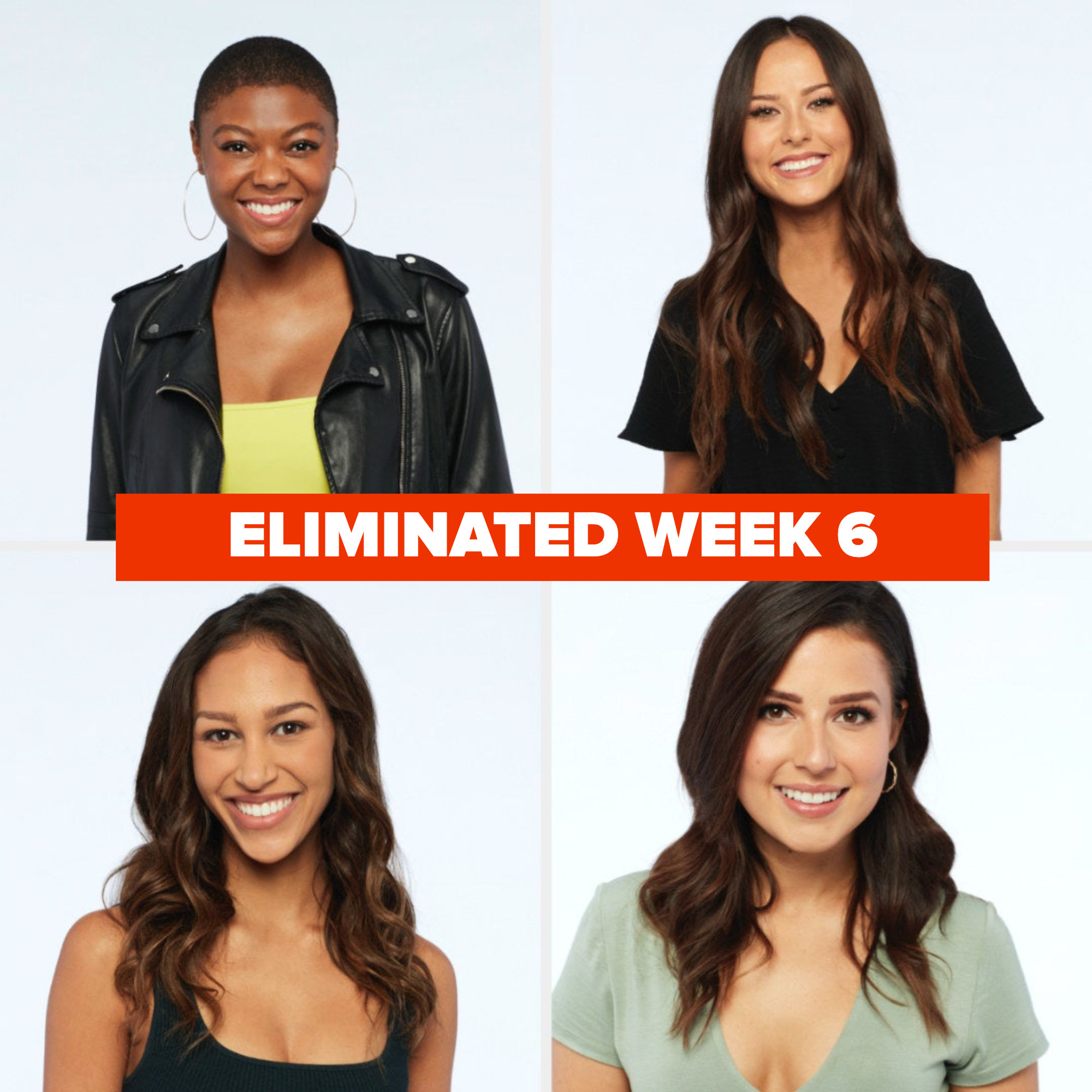 """the girls mentioned with """"eliminated week 6"""""""