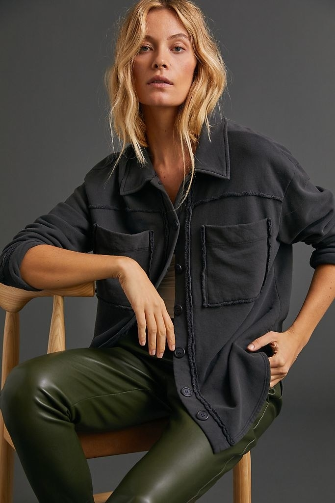 Model wearing the shirt jacket