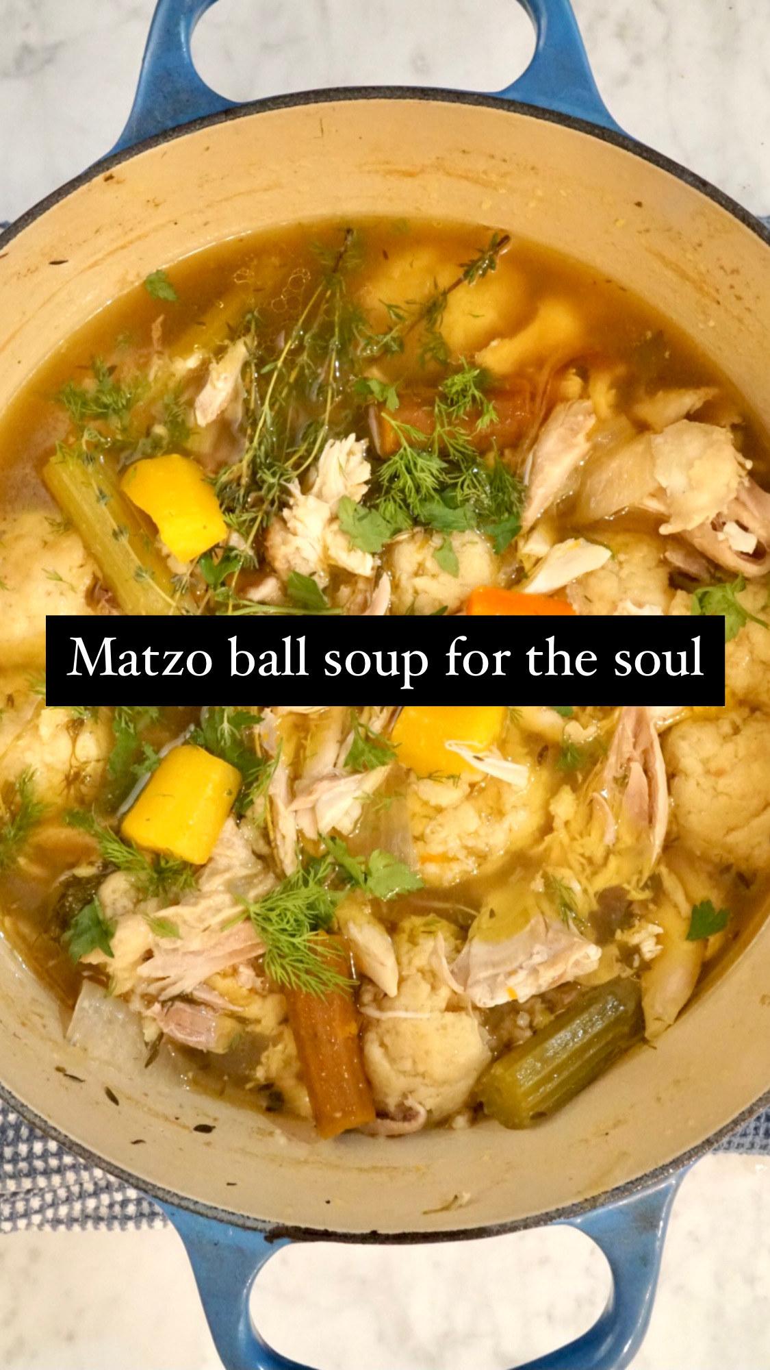 A big pot of matzo ball soup.