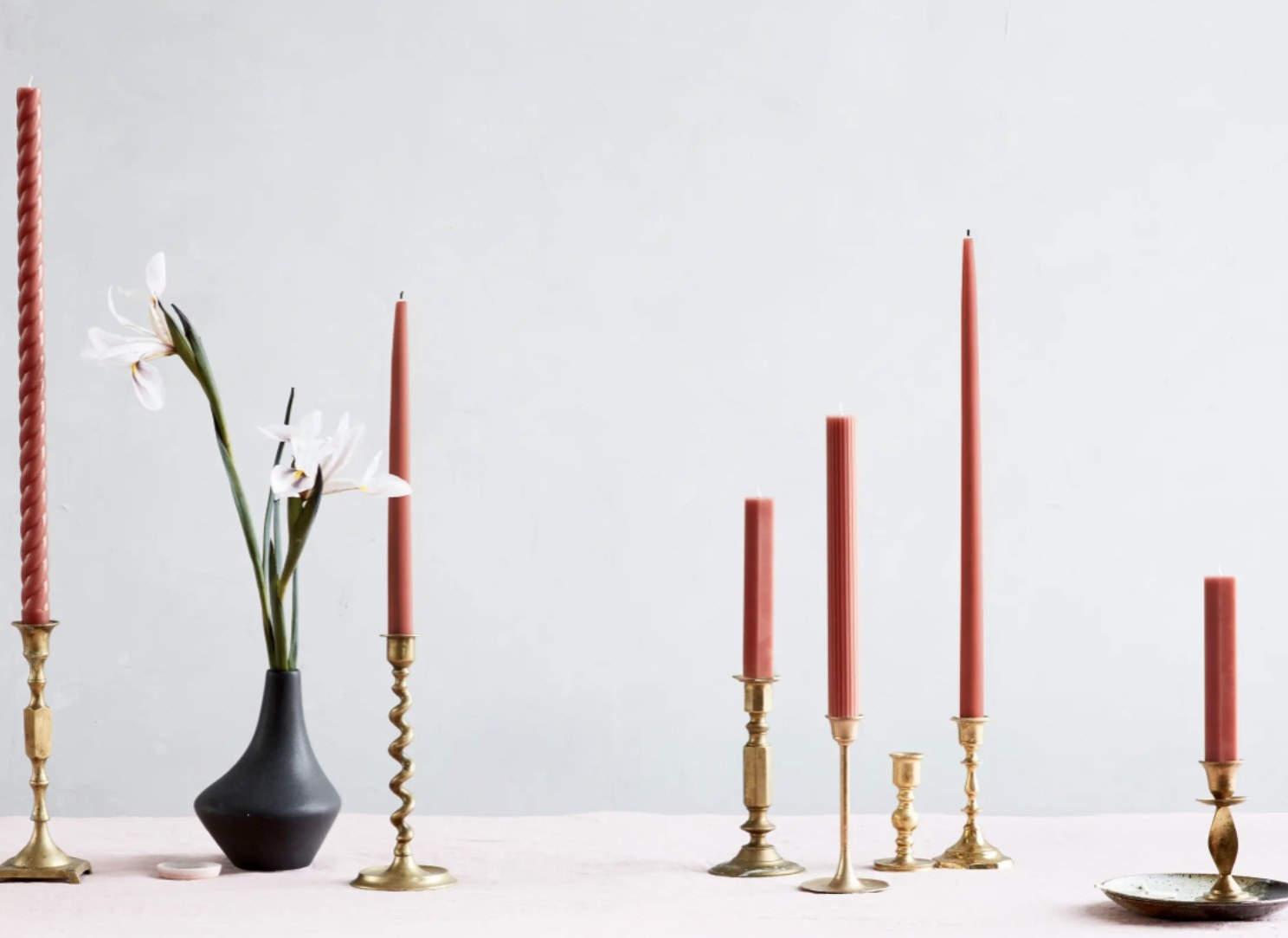 The clay-colored taper candles