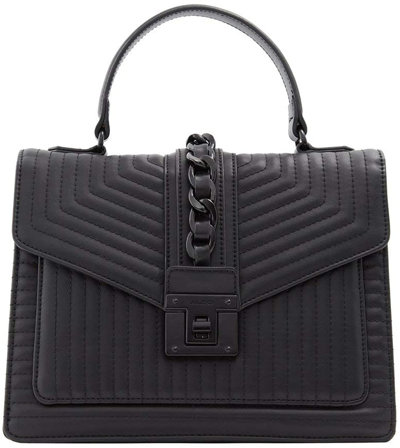 The black quilted bag with chain detail